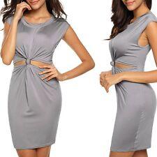 Minivestido vestido de camisa vestido nodo Bodycon Stretch gris plata XS S M L nuevo