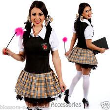 I82 Sweet School Girl Plait Teachers Pet Fancy Dress Hens Night Costume Outfit