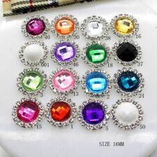 10pcs Flatback Acrylic Crystal Rhinestone Wedding Buttons Embellishment DIY 16mm