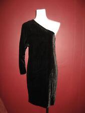 $295 Theory M 10 Birkita black one-shoulder velvet velour asymmetrical dress
