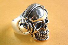 Biker muertos cabeza anillo Skull señores anillo Headphones anillo de plata 925 plata 002