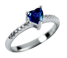 925 ECHT SILBER 💙 Zirkonia blau / weiß Herz Ring,  Größenauswahl
