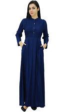 Bimba Womens Mandarin Collar Plain Jilbab Dress With Pockets Full Sleeve Maxi