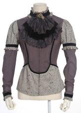 Chemise grise motif vintage aristocrate avec ras de cou en velours  RQ-BL