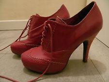Stivaletti tacco dark fuchsia ASOS ankle boots laced heels UK4 EU37