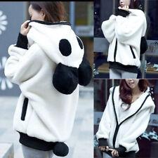 White S-L Plush Fur Warm Jackets Women Girl Panda Ear Hooded Hoodie Coat Warm U0