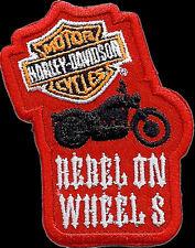 HARLEY DAVIDSON REBEL ON WHEELS 3 INCH BIKER  HARLEY PATCH