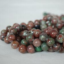 "Grade AB Natural Kashgar Garnet (red green) Gemstone Round Beads 6, 8, 10mm 16"""
