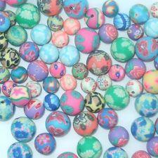 50 x ROUND polimero FIMO CLAY beads Taglie 8MM, 10MM & 12MM o miscuglio B12