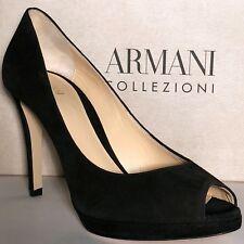 $695 Armani Women's Black Suede Leather Fashion Open Toe Stiletto Heels Pumps