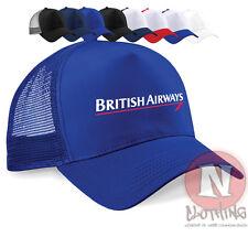Gorra De Cuello Redondo británico Airways Media Malla Retro Camionero Béisbol Sombrero aerolínea Clásico