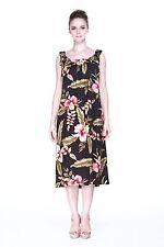 Plus Size Maxi Dress Long Melani Tropical Luau Dress Cruise Hawaiian Black Flora