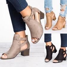 UK Womens Ladies Low Mid Block Heel Ankle Boots Peep Toe Open Back Sandals Shoes