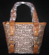 DKNY New Logo Canvas Leather Shopper Tote Bag Purse Handbag Buckles Brown New