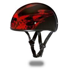 Daytona Helmets Skull Cap W/ SKULL FLAMES Open Face DOT Motorcycle Helmet D6-SFR