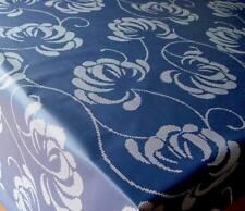 Baumwolle Tischdecke abwaschbar Meterware Rechteckig Rund Oval dunkelblau velvet