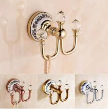 Bathroom Wall Mount Holder Dual Robe Hook Towel Coat Hanger Brass Crystal Hanger
