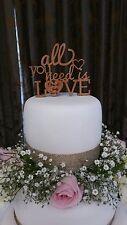 "All you need is love Personalizzato Inciso Mr & Mrs 4"" Top Tier Cake Topper Regalo"