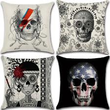 """18"""" Skull theme Cotton Linen Cushion Cover Pillow Case Home Decor"""