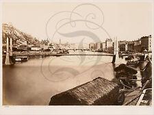 PLAQUE ALU DECO PHOTO ANCIENNE LYON PONT EGLISE PENICHE QUAI 1861 XIXEME BALDUS