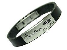 Armband Leder Gravur Tribal Namen Datum graviert Damen Herren Unisex Liebe Neu