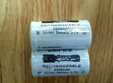 2x 16340 Rechargeable Batteries CR123A 2200mAh 3.7V HIGH DRAIN Heavy Duty