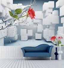 3D Flowers And Cubes 3080 Wallpaper Decal Dercor Home Kids Nursery Mural Home