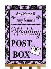 Lilac Black Damask Post Box Personalised Wedding Sign