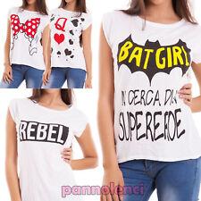 Maglia donna maglietta t-shirt stampe scritte maniche corte casual nuova CJ-2236