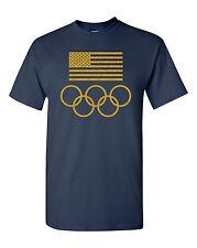 American Flag USA Olympic Circles Men's Tee's Shirt 1502