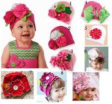 Baby Kids Infant Cotton Pink Flower Bonnet Beanie Hat Cap Shower Gift 0-2 yrs