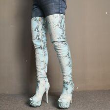 be832093 Sexy Women's Thigh High Boots Platform High Heels Nightclub Boots Shoes Big  Size