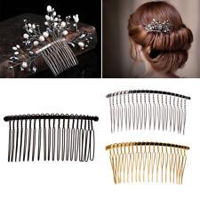 3Pcs DIY Blank Metal Hair Clips Side Comb 20 Teeth Wedding Bridal Accessories