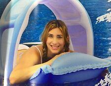 Nflatable PISCINA lettino Lilo Materassino ZATTERA Galleggiante con baldacchino rimovibile Sun