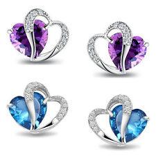 Damen Herz Ohrringe 925 Sterling Silber plattiert Ohrstecker Herz Zirkonia Stein