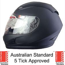NEW FULL FACE MOTORCYCLE HELMET ADULT LARGE MATT BLACK 5 tick approved FULL
