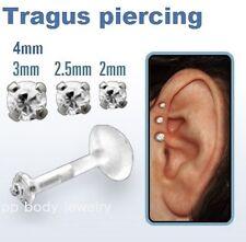 "1pc. 16g~1/4"", 5/16"" Bio-Flex Push-in .925 Silver Prong Set CZ Earring Tragus"