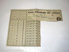 CARTA INDIVIDUALE del VESTIARIO 1942 bologna