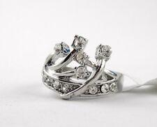 Glitzernder Ring Silber farben besetzt mit Strass Kronen Design M. Sofia (B35)