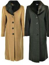 LADIES NEW WINTER WARM FUR COLLAR LONG COAT UK MADE SIZE 14 16 18 20 22 24