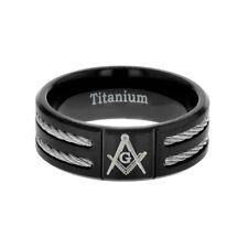 8MM Freeman Masonic Black Titanium Twin Steel Cable Inlay Mens Wedding Ring 8-13