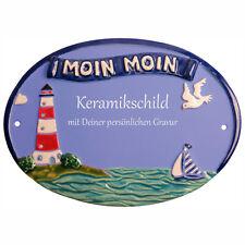 "Keramik Schild 23,5 x 17,0 cm mit Gravur - Leuchtturm + ""Moin Moin"" - TUE148"