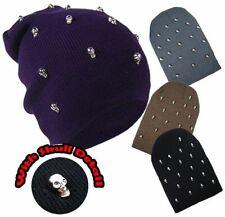 FEMMES HOMMES TRICOT Unisexe Souple chapeaux de ski CHROME Crâne Mode hiver