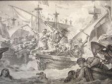GRAVURE XVIIIe / COMBAT NAVAL PRISE DU PRINCE DE SALERNE AN 1284