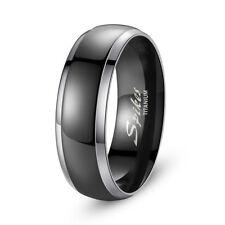 Nice Men's 8mm Titanium Carbide Wedding Band Black Rings Size 9-13 Us Seller
