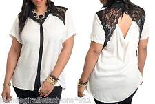 White/Black Open Lace Drape Back Button Front Short Sleeve Plus Blouse Top