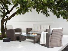 Rattan Gartenmöbel Sitzgruppe Rattanlounge braun weiss Möbel für Terrasse Garten