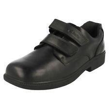 Junior Boys Clarks Hook & Loop Leather School Shoes - Deaton Gate