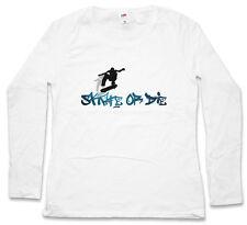SKATE OR DIE WOMEN LONG SLEEVE T-SHIRT Skateboard Skater Kickflip Halfpipe