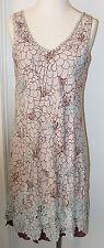 Krista Lee Bauhaus Brown/Blue Reversible Sleeveless Dress/Embroidered/Beaded NWT